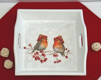 Serving tray, bullfinches, wood tray with handles, Christmas gift, decorative tray, platters, ottoman tray, wooden tray, coffee table tray