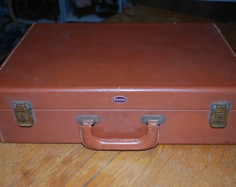Vintage Towne Leather Briefcase  Small Luggage 1940s
