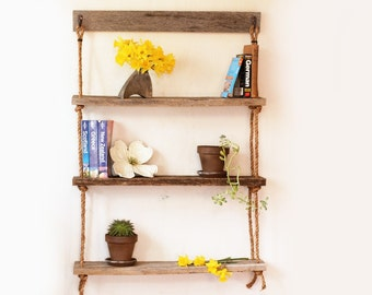 Hanging shelf – Three rope shelves – Hanging barn wood bookshelf – Reclaimed wood shelves – Suspended shelf unit – Wall mounted organization