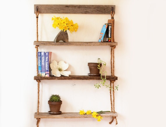 suspension plateau corde trois tag res r g n r e. Black Bedroom Furniture Sets. Home Design Ideas