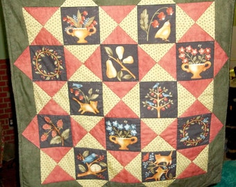 Folk Art Wall Quilt or Table Topper