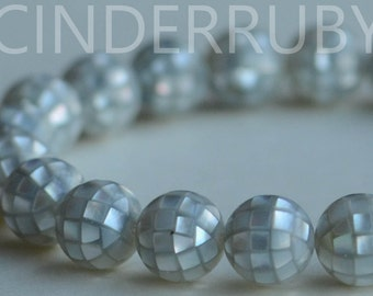 Silver Gray Shell Round Ball Beads,Mosaic Shell Beads,Gray Mother of Pearl Beads,MOP Beads,Inlay Beads,10/12/14/16/18/20 mm,Handcrafted Bead