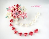 Tsumami Kanzashi Fabric Flower Spring Garden Cherry Blossoms Wedding Hair Comb Crimson Red Pink Ivory White