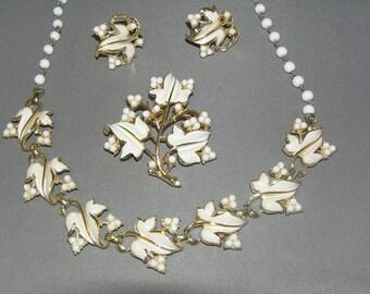 SALE:  20% Off  Coro Parure 1940s Resin Beaded/Enameled Necklace, Brooch, Earrings