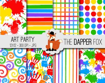 Art Party Digital Paper Pack - INSTANT DOWNLOAD - 12x12 - paint splash, stripes, spirals, spots, paint splatter