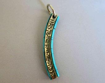 Tibetan Brass Pillar Pendant With Turquoise Inlay  - A343