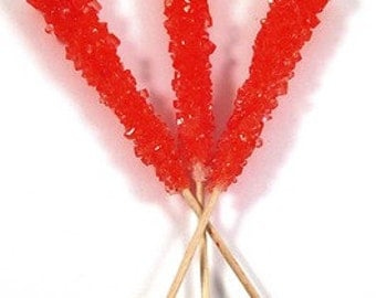 Rock Candy Sticks Cherry Flavor 12 Count -  Red Cherry
