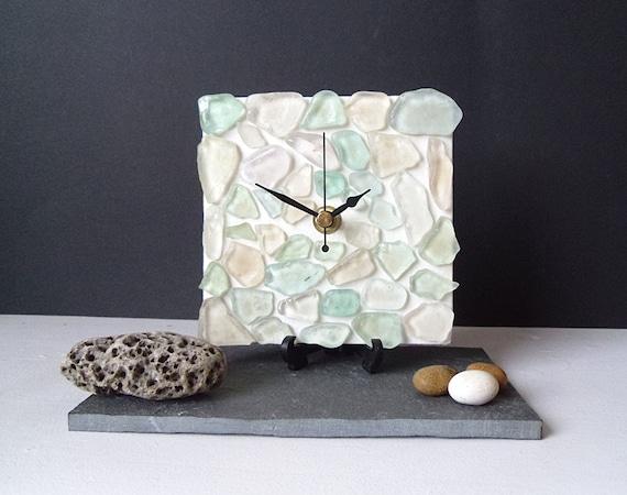 Desk Clock Small Wall Clock Sea Glass Sea Foam By