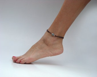 Tahitian pearl, leather, silver beads, woman adjustable anklet