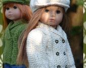 "Bria, PDF Doll Clothes a shawl collared cardigan and sweater knitting pattern for American Girl Dolls/18"" Gotz Dolls by Debonair Designs"