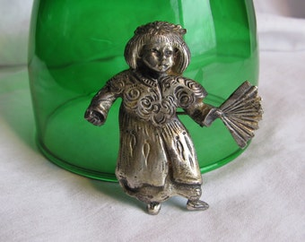 Vintage BROOKRAFT Signed Brooch, Little Girl with Fan, Pewter?
