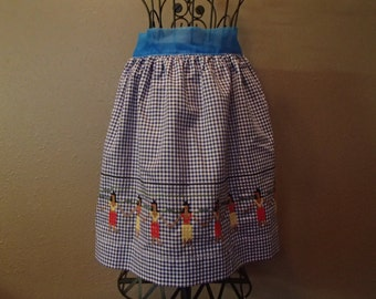 CLEARANCE - Blue Gingham Apron with Indian/Native American Figures Cross Stitched on Front, Free Shipping in USA