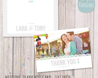 Wedding Thank You Card - Photoshop template - AW015 - INSTANT DOWNLOAD