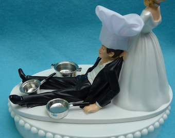 Wedding Cake Topper Chef Cooking Cookware Pots and Pans Hat Hobby Profession Themed w/ Bridal Garter Humorous Funny Bride Groom Reception