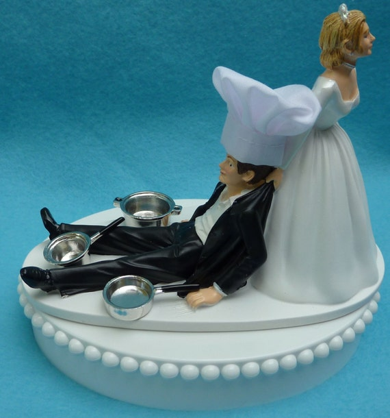 chef groom wedding cake topper wedding cake topper chef cooking cookware pots and pans hat 12632