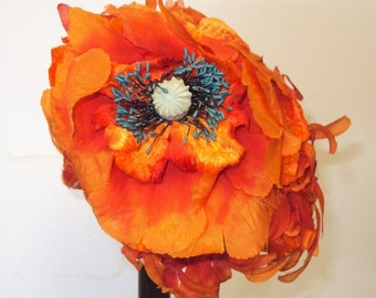 60's HAT Orange and Pink with a big poppy