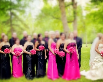 13pc wedding bridal party flower-Hot Pink Black Brooch Rhinestone(bouquet,boutonniere,corsage)