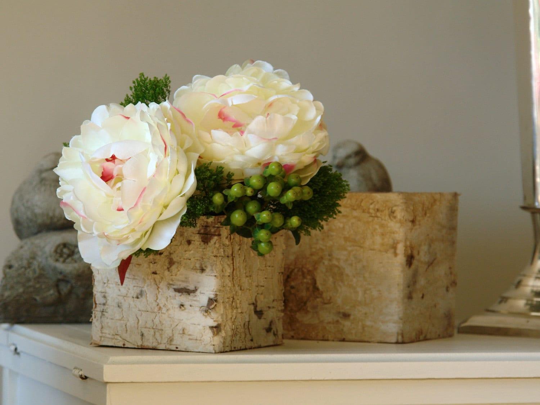 Birch bark vases birchwood wood boxes square wedding flower