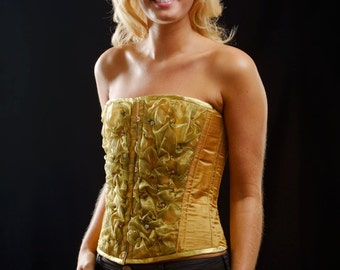 Unique Corset in Gold Silk and Organza, with embroidery and Swarovski crystals