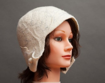 Snow White Felted Hat (Merino wool, silk thread, handmade, ear flaps)