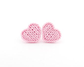 Heart earrings - baby pink faux knitted heart earrings - knit imitation tiny earrings - baby pink knit earrings