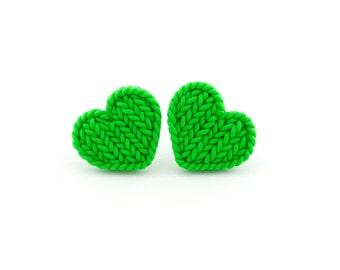 Apple green little hearts earrings - heart shaped knit imitation earrings - polymer clay tropical green small earrings