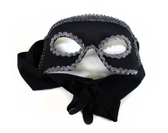 Dashing Black Silver Men's Masquerade Mask - A-0864BS-E