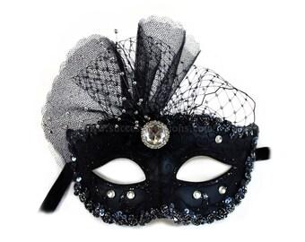 Pamela Decorated Black Masquerade Ball Mask - A-2202B-R