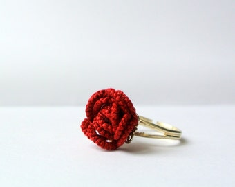 Tatted rose ring made in Italy | tatting lace rose ring | wedding jewelry ring | christmas gift