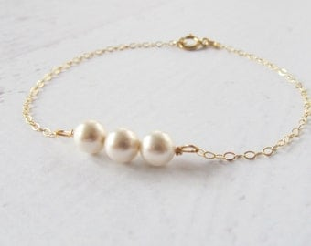 Pearl Bracelet, 14kt Gold Filled Bracelet, Gift for Her