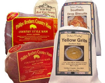 Bountiful Breakfast, 2# Country Ham, Biscuits, Grits, Red Eye Gravy, includes Free Shipping