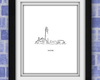 Racine Wind Point Light House Minimalist Print