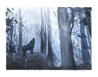 WOLF ART PRINT - watercolor wolf artwork, lone wolf print, howling wolf, wolf decor, wolf painting, wolf gift, wolf lover, animal painting