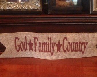Primitive Wired Burlap Banner God Family Country Patriotic Decor