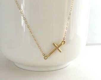 Sideways Cross Necklace, Gold Vermeil Cross, Small Gold Cross, Christian Necklace, Religious Jewelry - 14k Gold Fill Chain