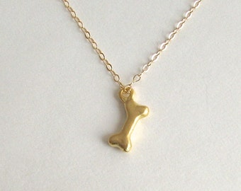 Dog Bone Necklace, Best Friend Necklace, Dog Lover Necklace, Gold Vermeil, Gold Bone Necklace, Dainty Gold Necklace - 14K Gold Fill Chain