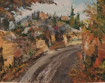 Original Oil Painting of Road to Town