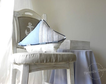 Nautical Pillow Yacht - Nautical Art Coastal decor, beach cottage, shabby chic. Classic pale blue white. Beach, lake house. Unique gift!