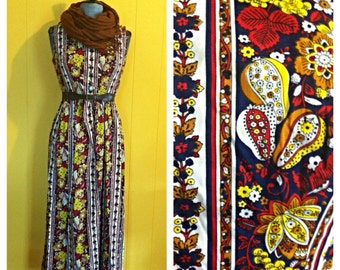Vintage 70's Printed Maxi Dress size S/M