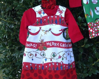 Dr Seuss How The Grinch Stole Christmas Holiday Dress, Jumper (child, girl, baby, infant, toddler)