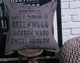 Historic Black District Pillow Black WALL STREET Pillow