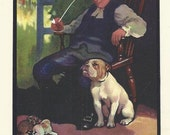 Bulldog and Man Smoking Clay Pipe by Edwin Noble 1910 colour dog print Vintage Print Home Decor Wall Art
