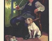 Bulldog and Man Smoking Clay Pipe by Edwin Noble 1910 colour dog print Vintage Print Home Decor Wall Art