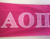 Alpha Omicron Pi Dark Pink/Light Pink Letter Sorority Flag 3' x 5'