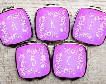Bridesmaids Gifts - Personalized Bridesmaids Gifts - Bridesmaids - Compact Mirrors - Bachelorette  - Bachelorette Gifts - Favors - Set of 5