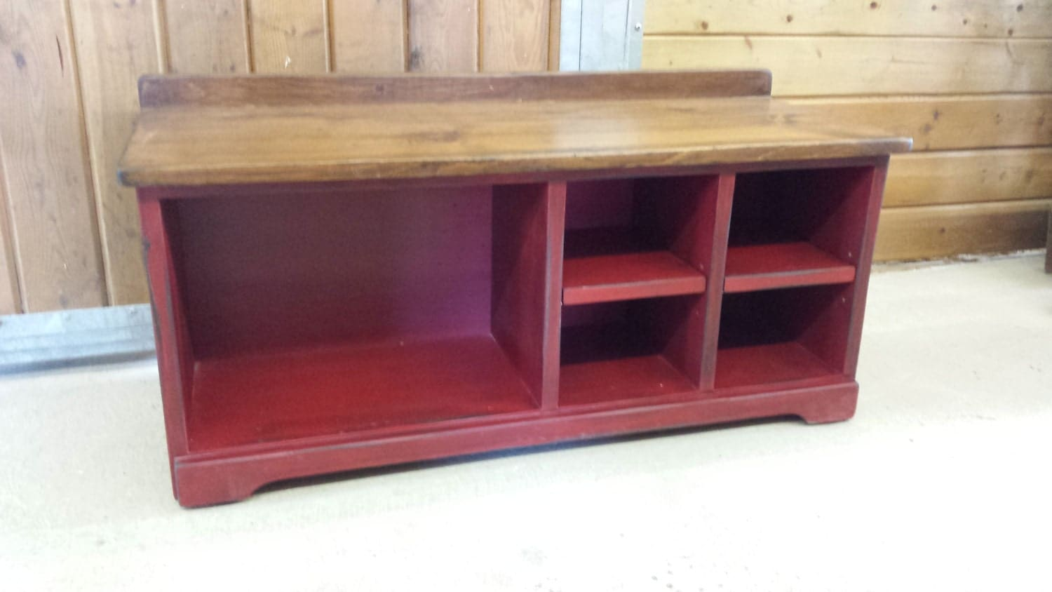42 Shoe Bench Red Cubby Shoe Bench