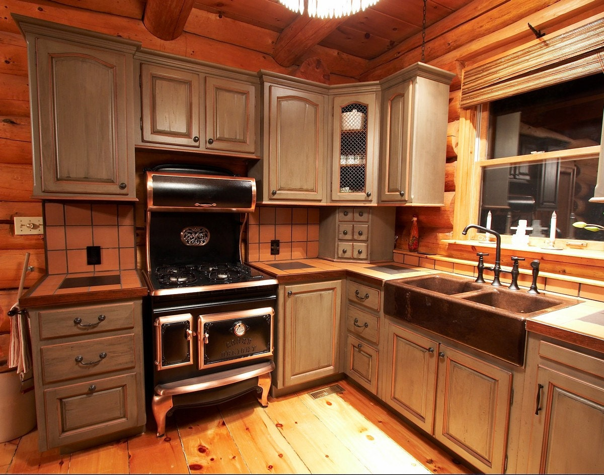 Custom kitchen cabinets cabinets made to order log home - Custom made kitchen cabinets ...