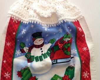 Believe Sled Crochet Top Towel  (C7)