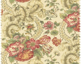 Floral, scrolls, feathered fabric.  Cream, sage, and rose colors