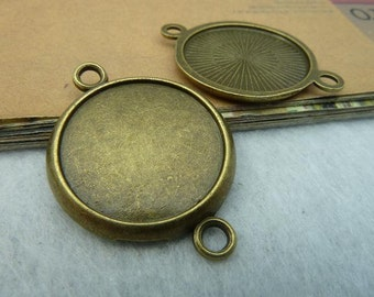 10pcs Antique Bronze 22mm Cabochon Base Round  Bezel Cup Cabochon Mountings with 2 Rings AC2649